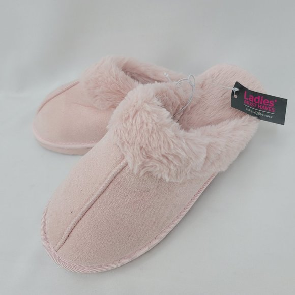 Pink Slip On Fuzzy Slippers L